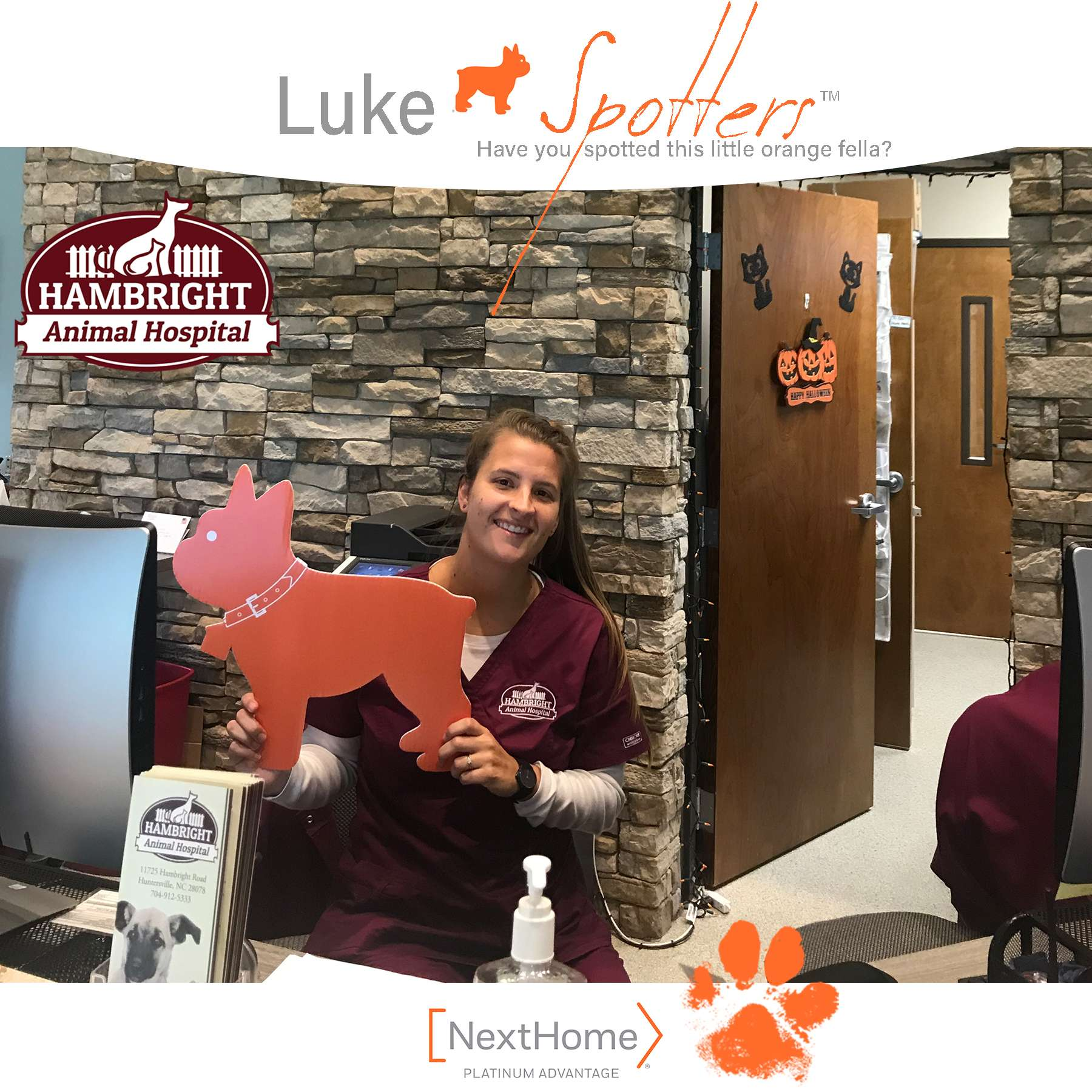 Luke and Sarah Squier, REALTOR®, making new friends at Hambright Animal Hospital
