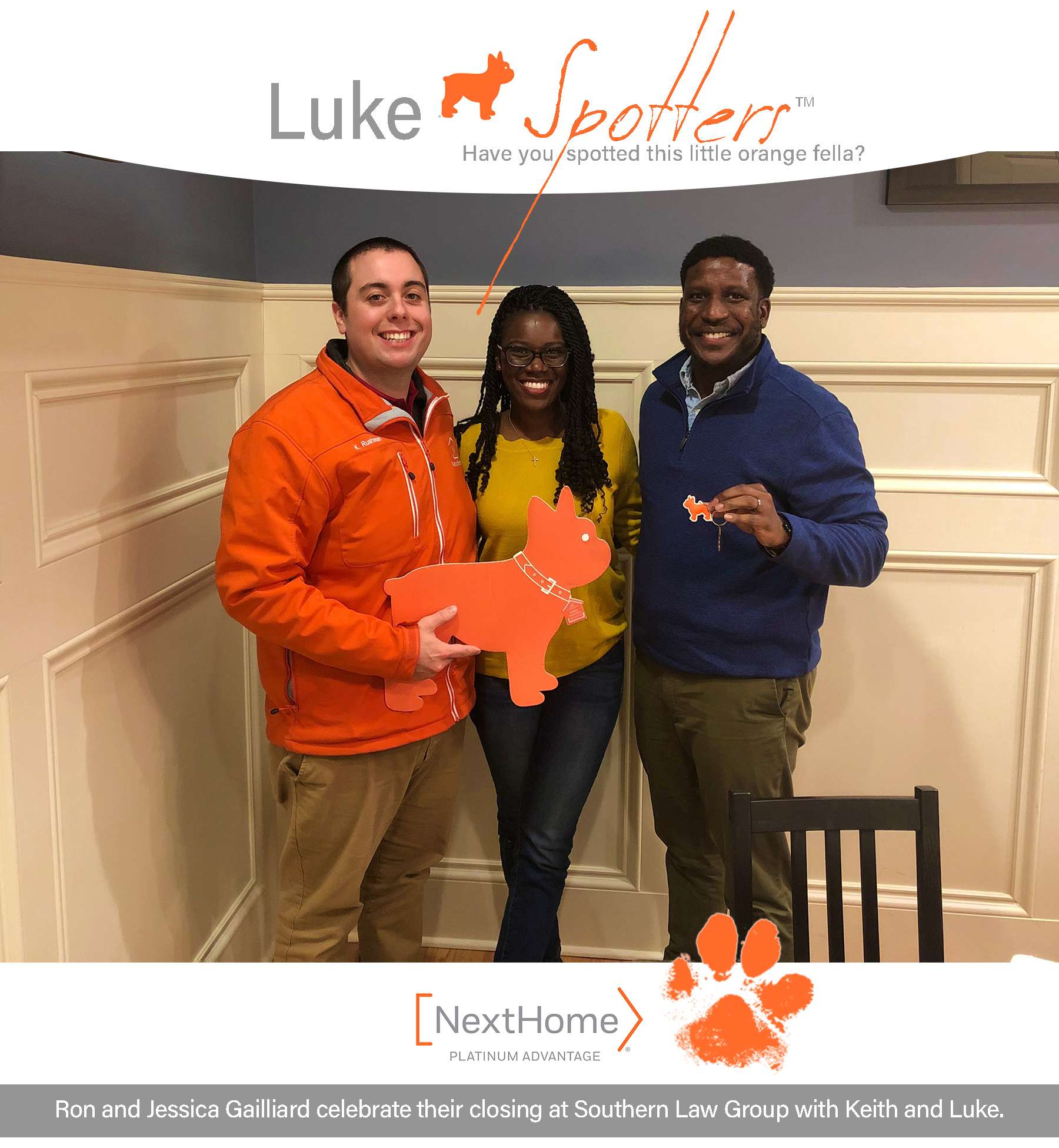 Ron and Jessica Gailliard celebrate their closing at Southern Law Group with Keith Rushman and Luke of NextHome Platinum Advantage.