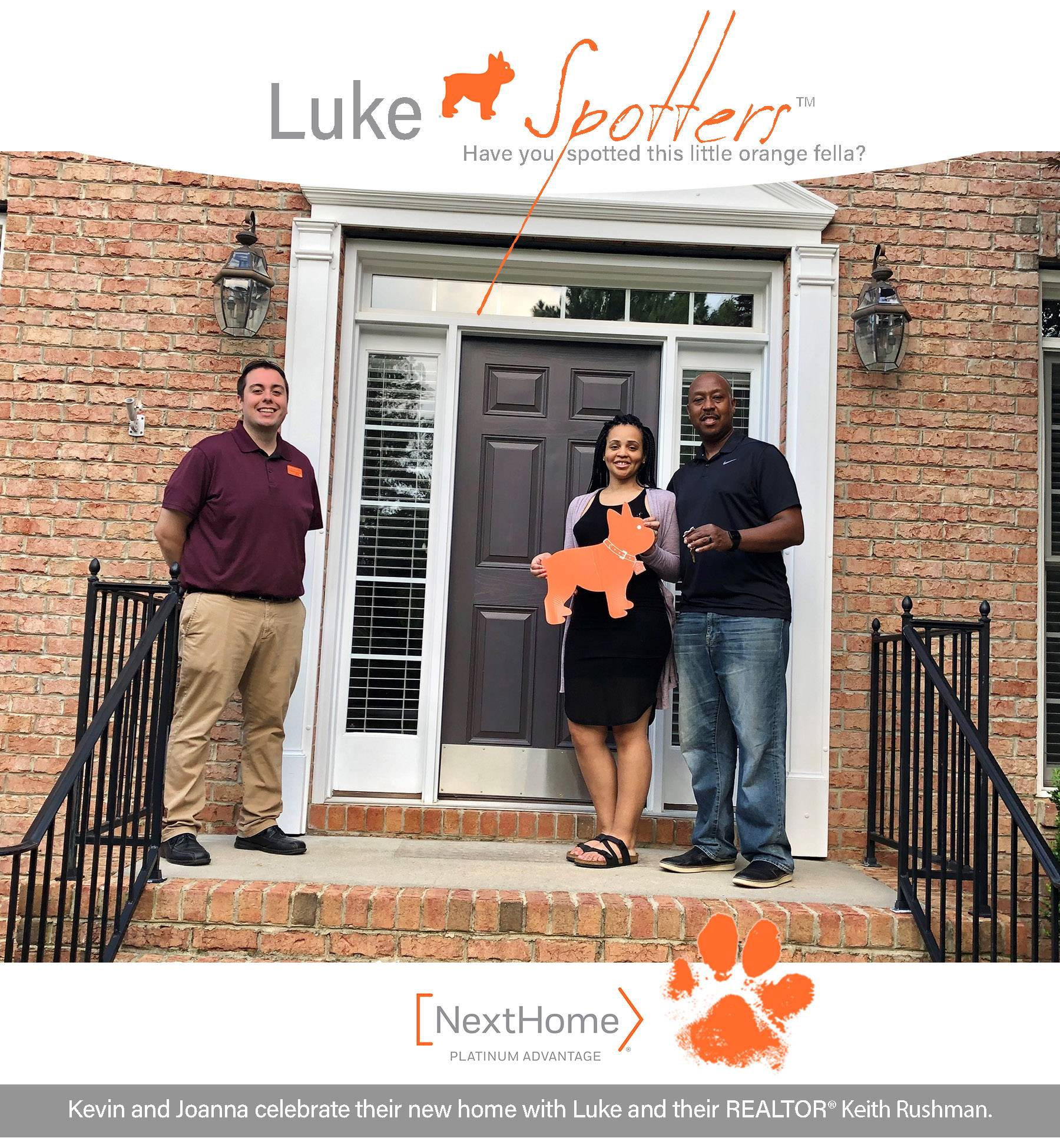 Kevin and Joanna celebrate their new home with Luke and their REALTOR® Keith Rushman.